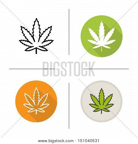 Marijuana leaf icon. Flat design, linear and color styles. Cannabis weed. Isolated vector illustrations
