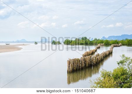 Seascape at Krabi Province Thailand. Bamboo fence protected from sea waves beach erosion.