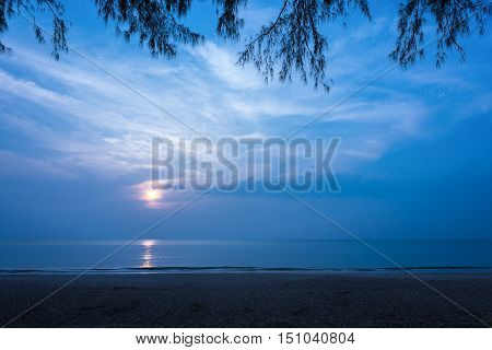 Beautiful secluded beach at night Copy space.