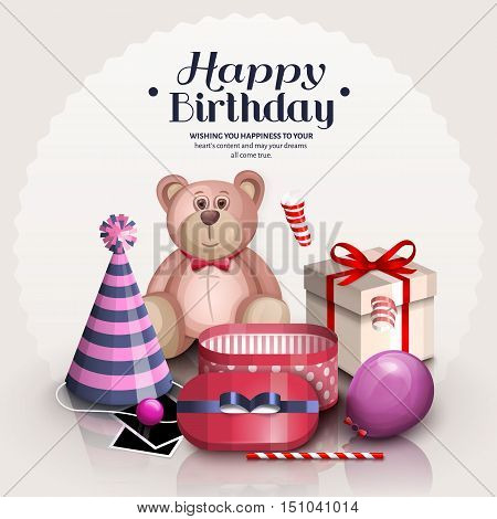 Happy birthday greeting card. Pile of colorful wrapped gift boxes. Lots of presents and toys in retro, vintage style. Party balloon, party hat, pink teddy bear.