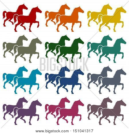 Horse silhouette icons set on white background