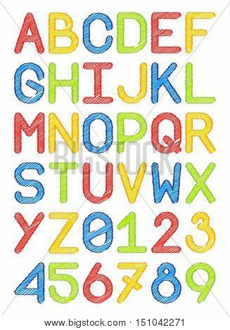 english font typeface capital letters and numbers pencil lines colorful red yellow blue green vector illustration