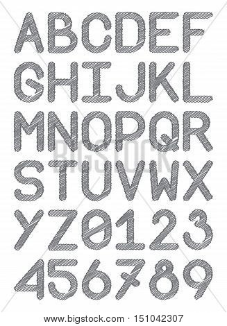 english font typeface capital letters and numbers pencil lines gray vector illustration