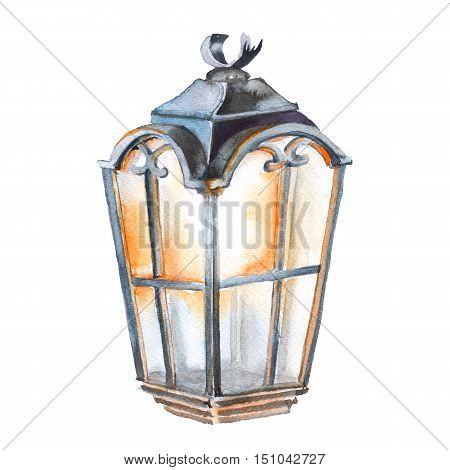 Christmas street lamp. Isolated on a white background. Watercolor illustration.