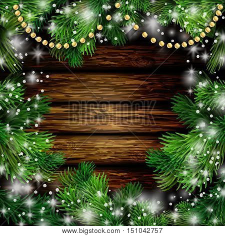 Christmas New Year design wooden background with christmas garland and snow. Vector illustration, Cristmas tree