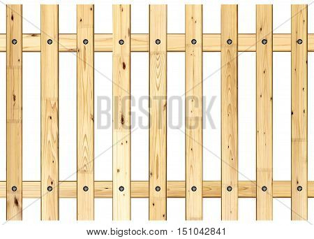 rural wood fence model isolated over white background