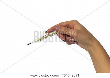 Traditional thermometer for measuring body temperature in hand isolated on white background.