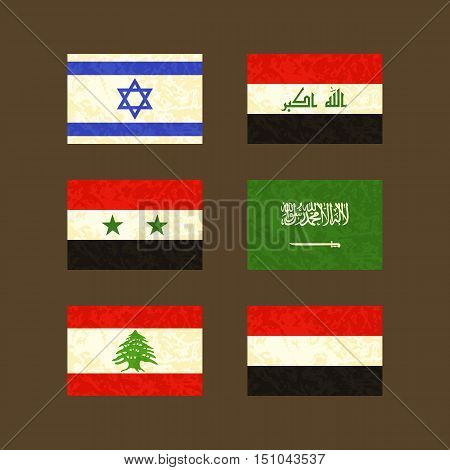 Flags of Israel Iraq Syria Saudi Arabia Lebanon and Yemen. Flags with light grunge dirty effect.