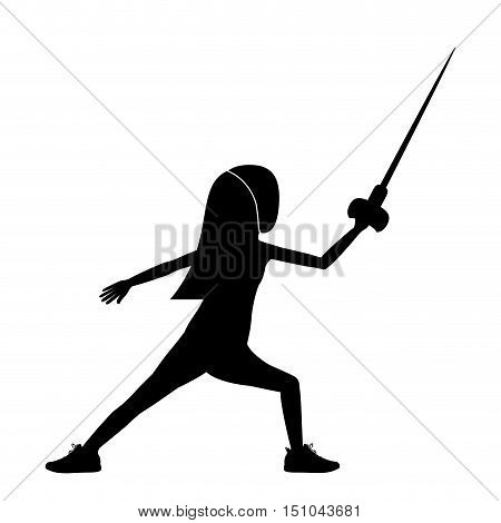 Girl fencing icon. Sport hobby and training theme. Isolated design. Vector illustration