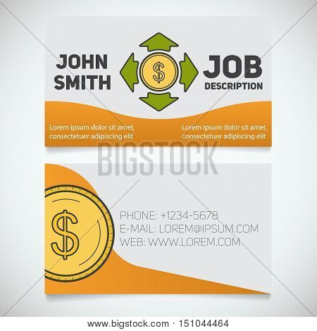 Business card print template with money spending logo. Easy edit. Manager. Accountant. Investor. Stationery design concept. Vector illustration