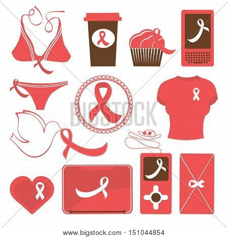 Cute breast cancer awareness items collection. Vector illustration