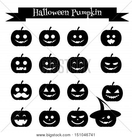 Isolated black silhouettes of halloween pumpkin. Emoji icons set. Emoticons stickers isolated design elements icons for mobile applications social media chat and other business.
