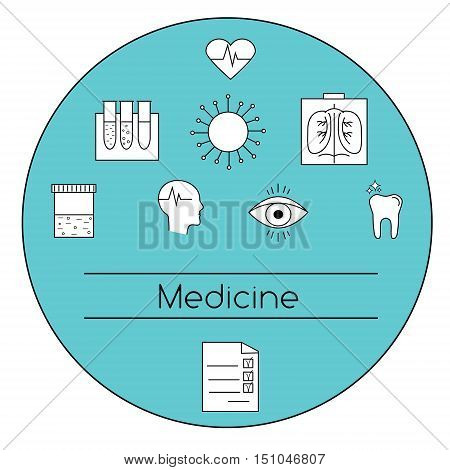 Modern medicine concept vector illustration. Medical line icons symbols of human eye heart head. Design elements for web pages brochures flyers covers and etc