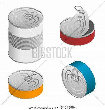 Isometric set of Opened and closed food tin cans with blank label isolated on white.