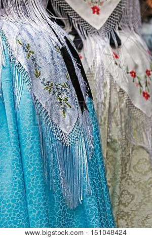 Detail of traditional German folk costume worn by women of ethnic German from Banat area Romania.