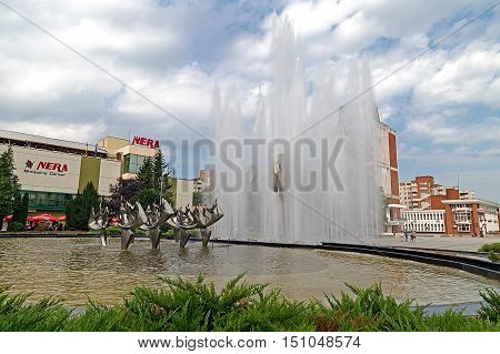 RESITA ROMANIA - JUNE 20 2016: Kinetic fountain located in the central square of Resita. Creation of sculptor Constantin Lucaci was inaugurated on 23 August 1984.