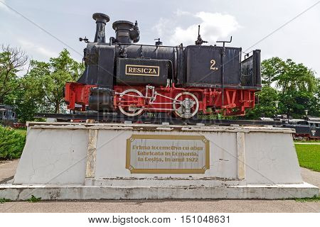 RESITA ROMANIA - JUNE 21 2016: View of the first steam locomotive made in Resita in 1872 and located at steam locomotive park.