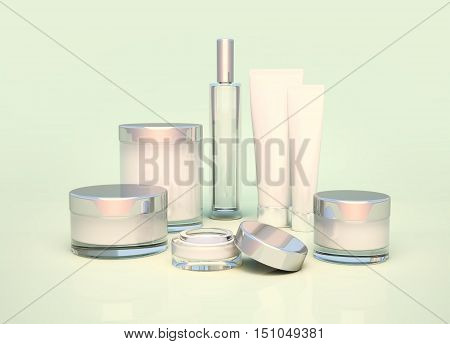 Daily beauty care cosmetic. Face cream eye cream serum and lip balm. Skin care.3D illustration