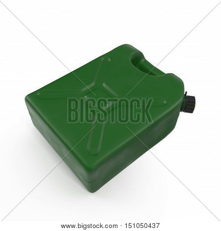 Green plastic gallon, jerry can isolated on a white background. 3D illustration