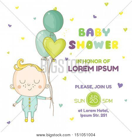 Baby Boy with a Balloon - Baby Shower or Arrival Card - in vector