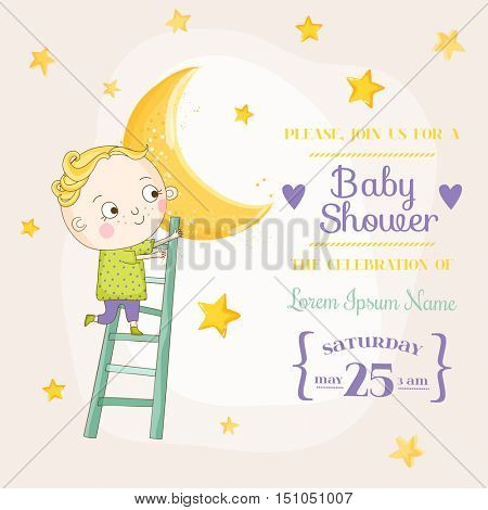 Baby Boy Climbing on a Moon - Baby Shower or Arrival Card - in vector
