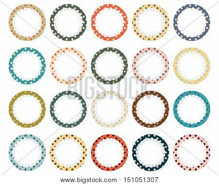 Vector Set of Polka Dot Scalloped Circle Labels