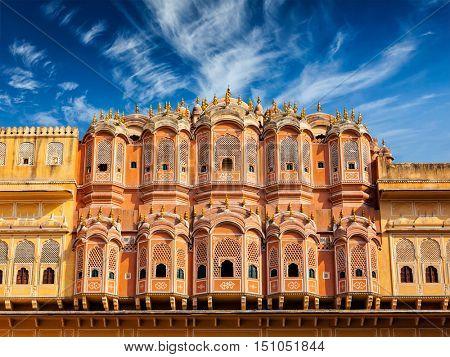 Famous Rajasthan Indian tourist landmark - Hawa Mahal palace (Palace of the Winds), Jaipur, Rajasthan, India