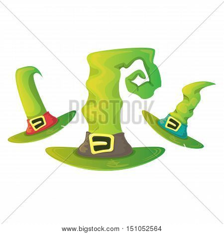 vector cartoon glossy green witch hat isolated on white set. halloween green hat icon collection