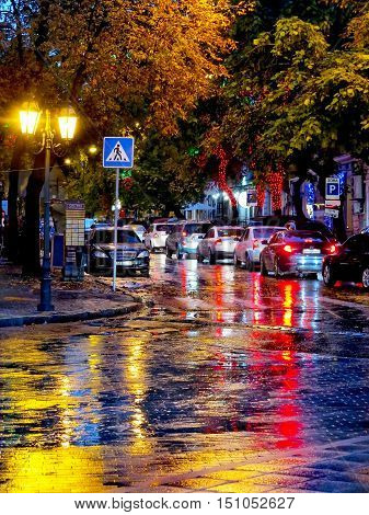 Odessa, Ukraine - October 4, 2016: Night City Street Lamps In The Light Of A Rainy Day. Creative Blu