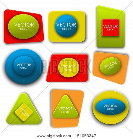 Buttons abstract vector labels set internet colorful site template. Glossy modern set buttons web design icon interface circle badge. Shape banner label collection buttons element sign.