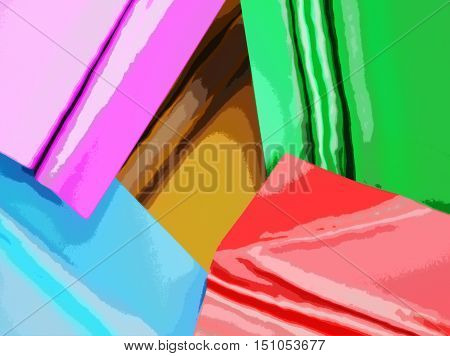 Abstract image of pieces of fabric. Can be used as background. 3d illustration