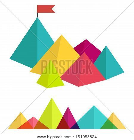 Polygonal mountains. Abstract colorful ranges in the flat style. Vector illustration. Flag on the mountain peak. Business concept of success.
