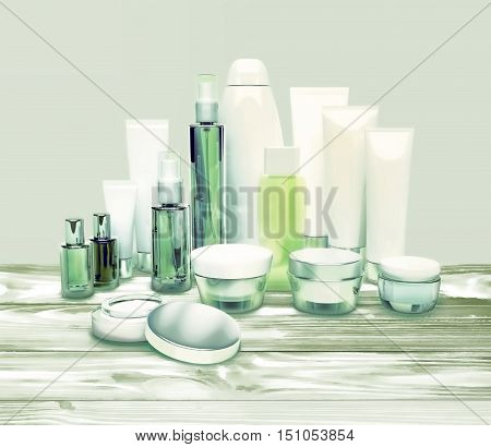 Daily beauty care cosmetic. Face cream eye cream serum and lip balm located on a wooden table. Skin care. 3D illustration