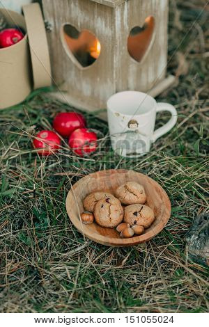 on the green grass are apples and lit the lamp cup and saucer with biscuits and nuts