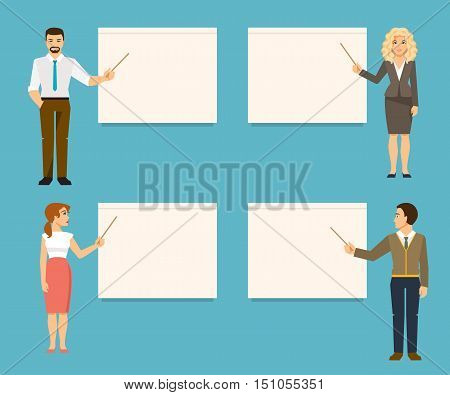 Set of business coaches. Teachers provide training or presentation standing at whiteboard