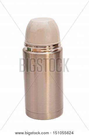 Steel thermos isolated on a white background