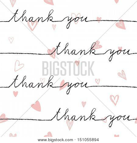 Thank you. Seamless pattern. Hand drawn. Decorative background for gift paper, wrap paper, textile, backgrounds, cards, wallpaper, labels, stickers ...