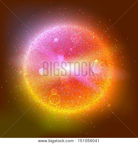 Bright glowing ball filled with particles and dust with shine and glow. The specks of light flying from the explosion