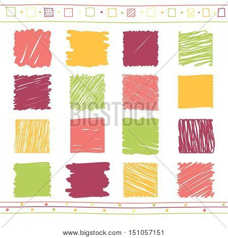 Vector collection of retro scribbled elements in hand drawn style of of green, orange, pink and red color