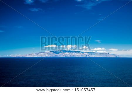 view of the island La Gomera in a distance from Tenerife Canary Islands Spain