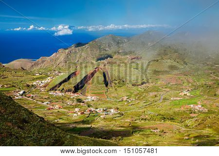 Valley of El Palmar in the Teno mountain range with the form of deep slices carved out of the landscape like missing portions of a pie Tenerife Canary Islands