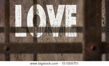 Love Written On A Wall With Jail Bars Shadow.