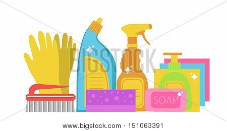 Cleaning supplies cleaning tools set. Household chemicals. Vector illustration