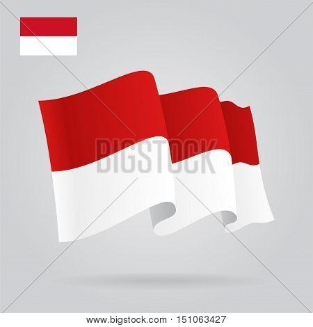 Indonesian waving Flag. Vector illustration Eps 8