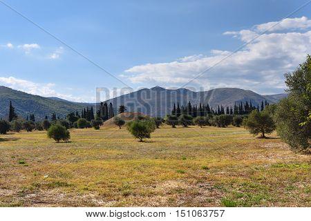 Burial Mound On The Plain Of Marathon Battle