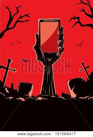 Zombie hand holding smartphone blank screen up from the grave in the cemetery at night. This illustration is Halloween theme