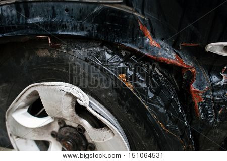 Car After Accident. Front End Of A Vehicle After A Car Accident