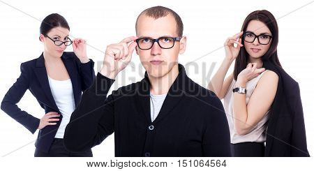 ophthalmology and optometry concept - business people in eyeglasses isolated on white background