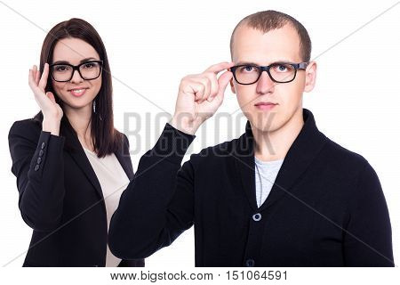 Business People With New Eyeglasses Isolated On White