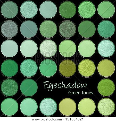 A background palette of eyeshadows in tones of green.